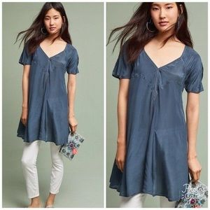 Anthropologie Akemi + Kin Silk Blue Tunic Top